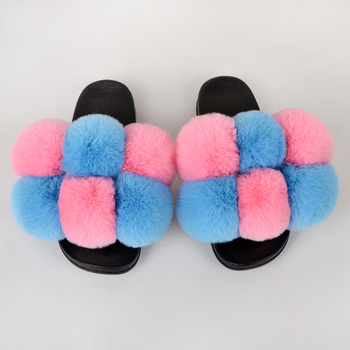 Summer Women Slippers Faux Fur Slides For Women Fluffy Slippers House Female Shoes Woman Slippers With Fur Pom Pon Furry Slides faux fur overlay slippers with rabbit ears