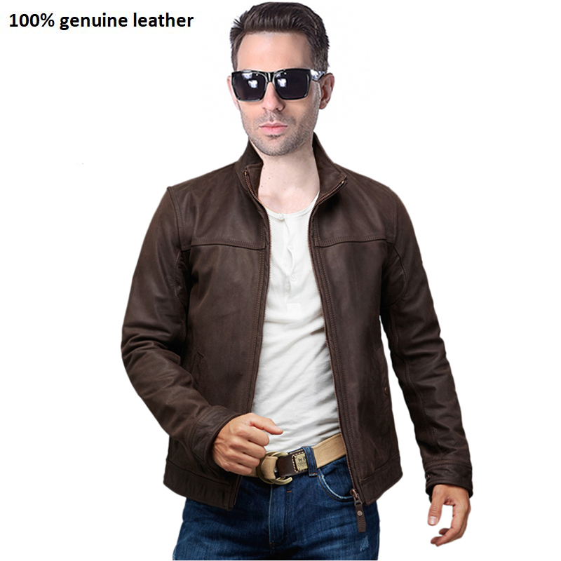 Brand Genuine Leather Jacket Men Leather Jackets Cowhide Skin Dark Brown Bomber Jacket Men's Leather Coat Winter 161