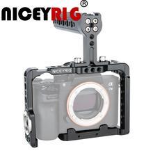 """NICEYRIG מצלמה Rig כלוב עבור Sony a7m3 a7r3 A7RIII a73 A7III a7m3 A7MIII A9 a7r2 A7RII a7s2 A7SII dslr Rig למעלה יד 1/4 1/4 """"3/8"""