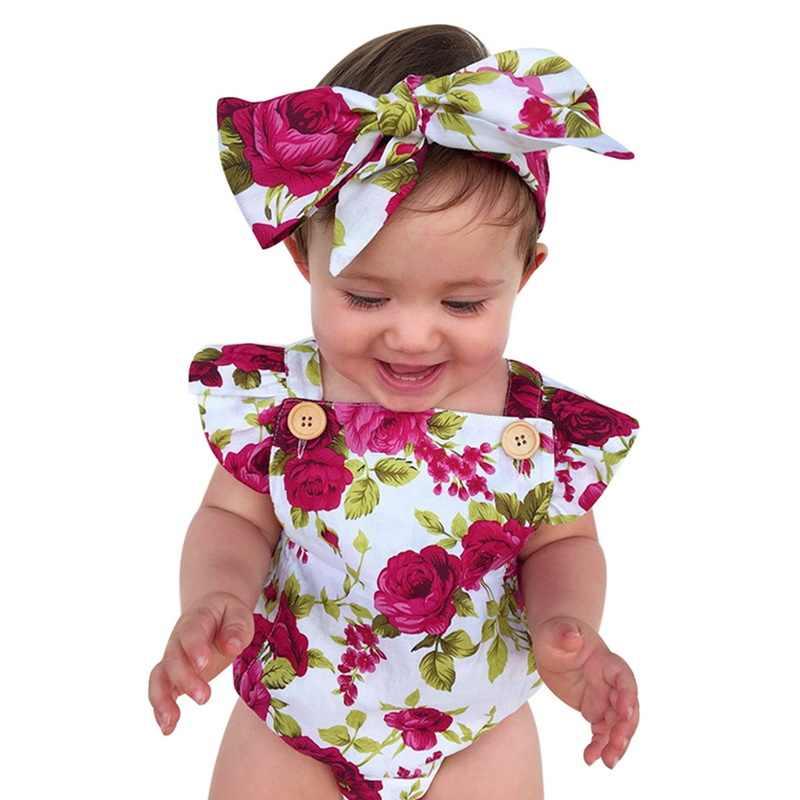2 قطعة/المجموعة/المجموعة طفل الفتيات ارتداءها الملابس مجموعة الوليد بنات الأزهار بذلة الصيف Sunsuit مع عقال الرضع زهرة الملابس 0-24 متر