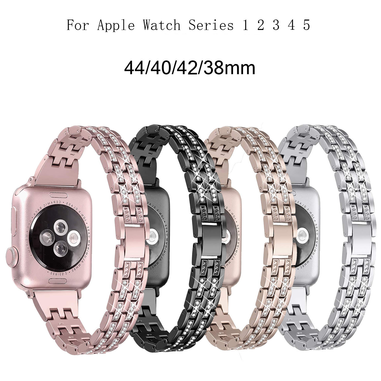 For Apple Watch Band 40mm 44mm 38 42mm Women Diamond Strap for Apple Watch Series 5 4 3 2 1 iWatch Bracelet Stainless Steel Band image