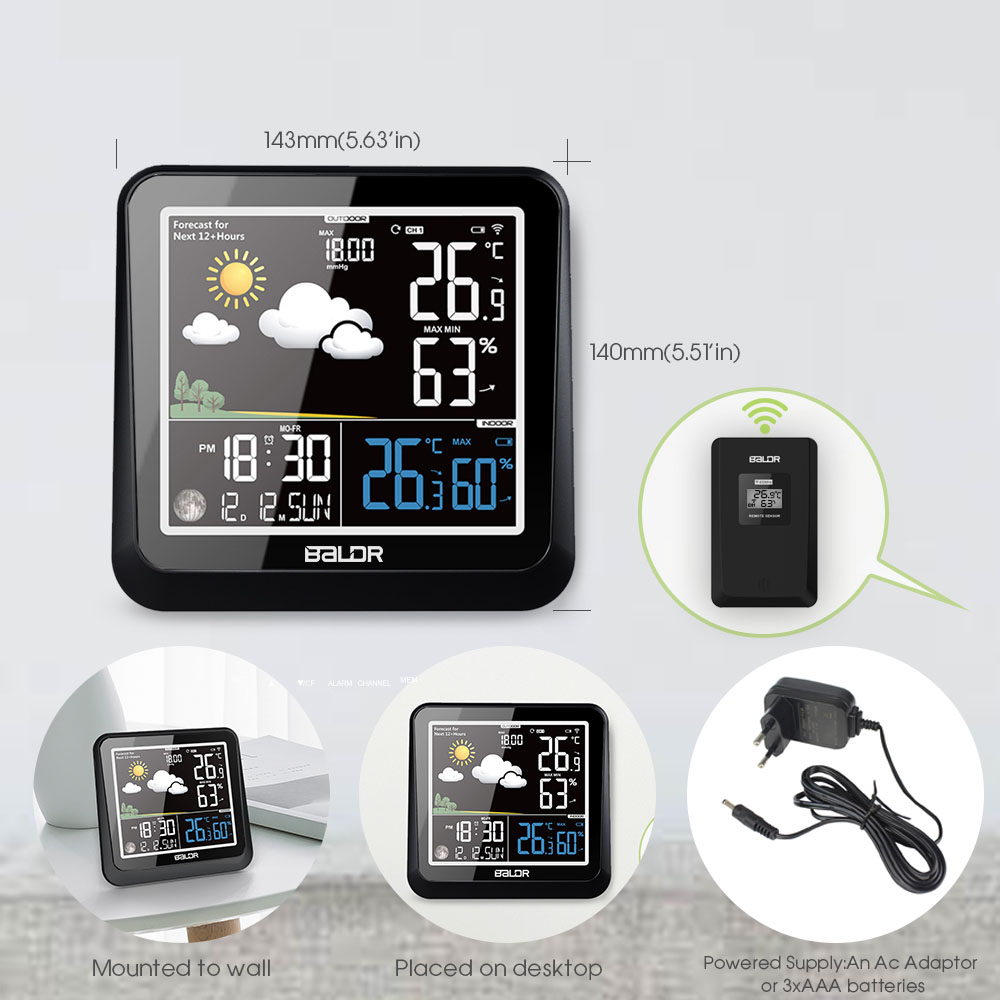 Baldr LCD couleur intérieure extérieure Station météo + capteur à distance thermomètre Snooze horloge bureau réveil