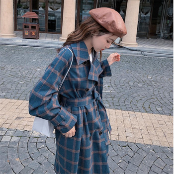 Plaid Windbreaker For Women 2020 New Spring Autumn Korean Loose Slim Belt Over The Knee Trench Coat Plus Size Outcoat Blue W2194 1