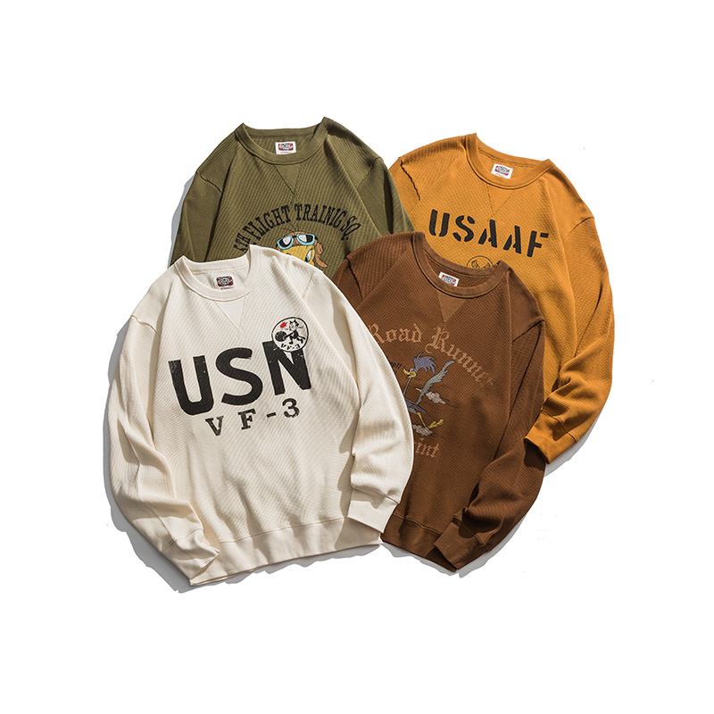 Quality Washed Cotton Waffle Crew Neck Pullover Sweatshirts Soft And Comfortable