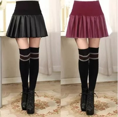 19 Spring Qiu Dong Xia New Style Leather Skirt Women's Short High-waisted Loose-Fit Black And White With Pattern Elastic Pleated