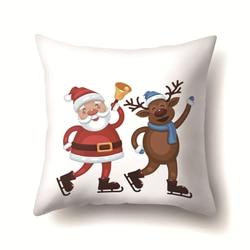 Santa Deer Pattern Christmas Cushion Cover Decorative Throw Pillow 45*45cm Polyester Pillowcase Xmas New Year Home Decor 40543 6