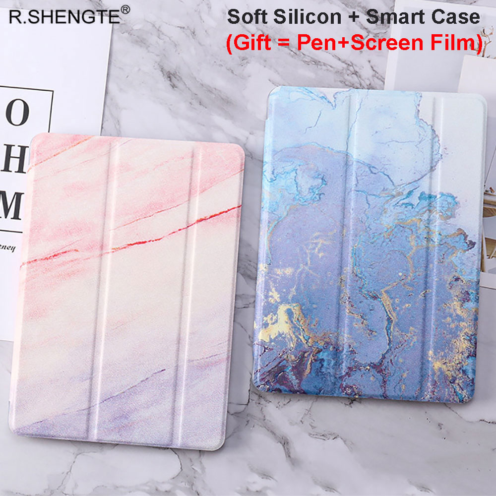 For iPad 10.2 Case Marble Grain Magnetic Pu Leather Soft TPU Smart Cover for iPad 7th Generation 2019 10.2 With Stylus Pen+Film image