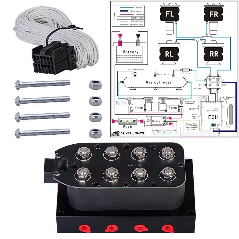 Universal pneumatic shock absorber 1 4inch 4-corner solenoid valve unit  Air ride suspension Manifold Solenoid valve  0-300psi