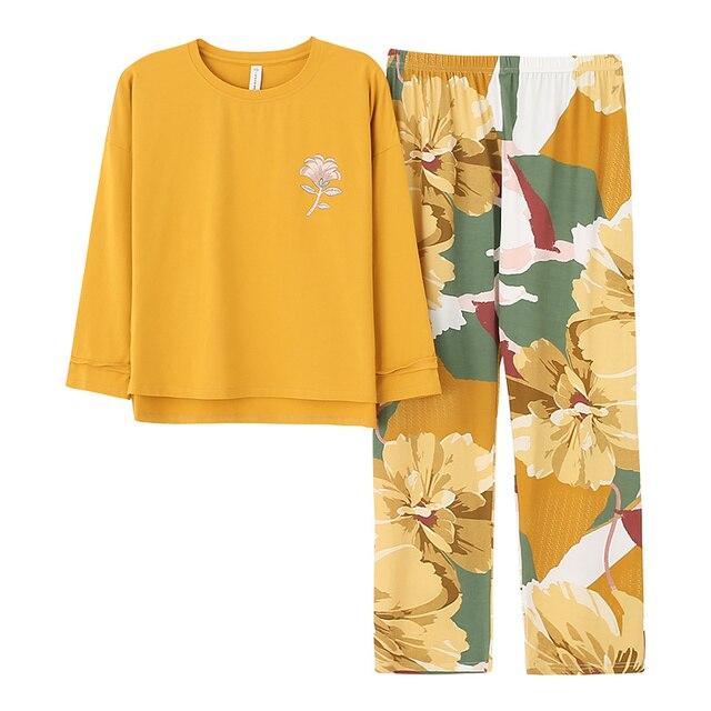 Outono inverno mulher pijamas casa roupas plus size pijamas conjunto de manga longa pijamas para mulher conjuntos 100% algodão