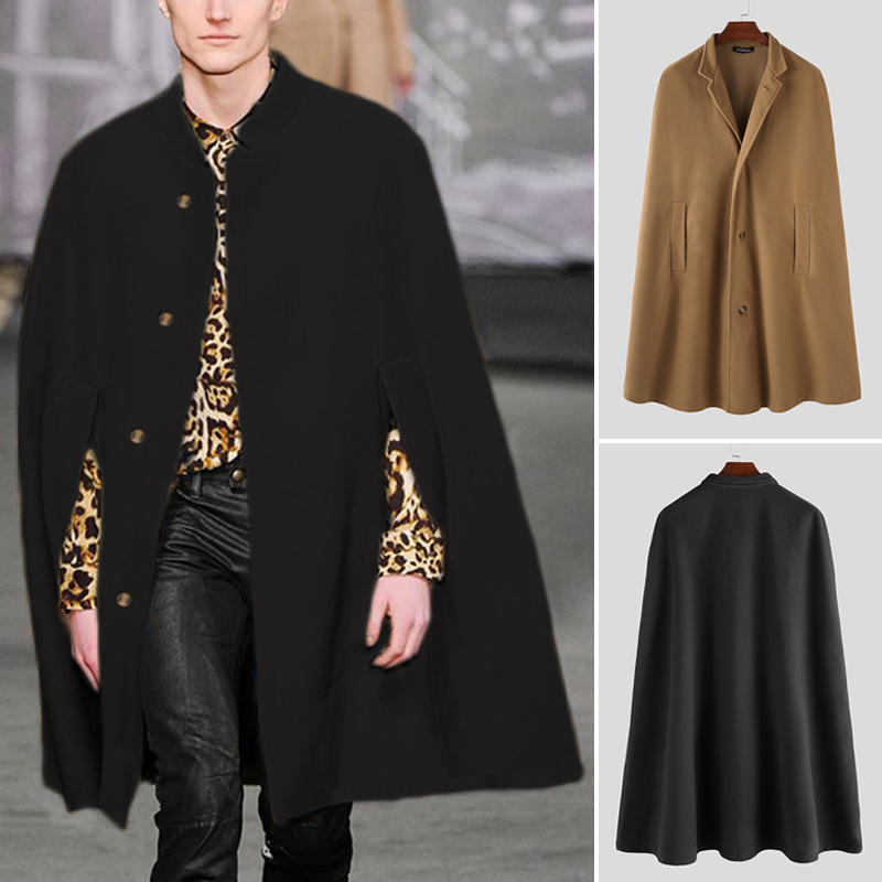 INCERUN Winter Fashion Men Cloak Coats Solid Streetwear Faux Blends Fleece Overcoat Stand Collar Trench Casual Jackets Cape 2019
