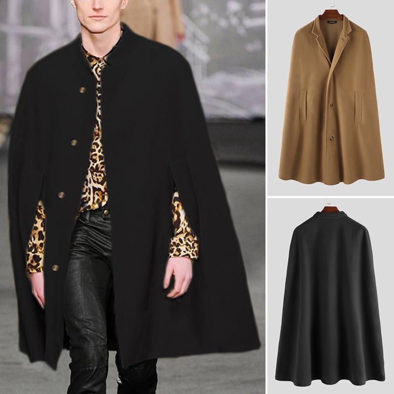 INCERUN Winter Fashion Men Cloak Coats Solid Streetwear Faux Blends Fleece Overcoat Stand Collar   Trench   Casual Jackets Cape 2020