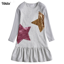 VIKITA Kids Dresses for Girls Costume Long Sleeve Cotton Princess Dress Children Clothes Reversible Sequined Baby