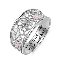 Love You To The Moon and Back Rings for Women Creative Pleated Silver Sakura Wedding Jewelry Ring Romantic Hollow Bague Girls