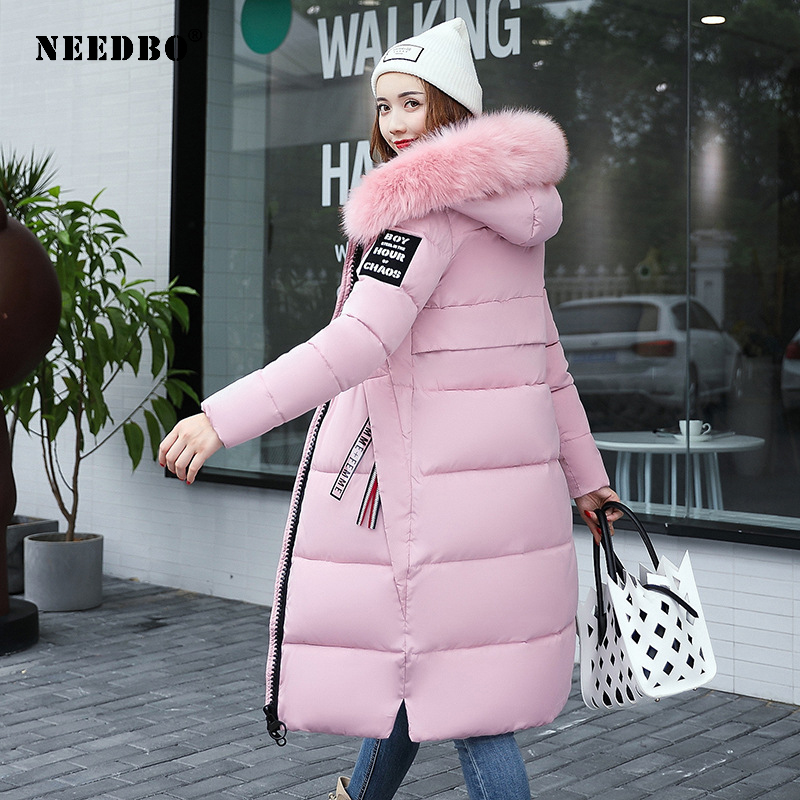 NEEDBO Winter Jacket Women Long Parka Fur Collar Casual Slim Woman Winter Coats And Puffer Jacket Padded Outwear Long Coat Women