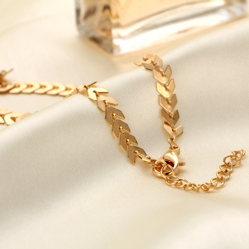 2019 New Chain Choker Two Layers Necklaces Fishbone Airplane Shape Gold Color Necklace Flat Chain jewelry 5