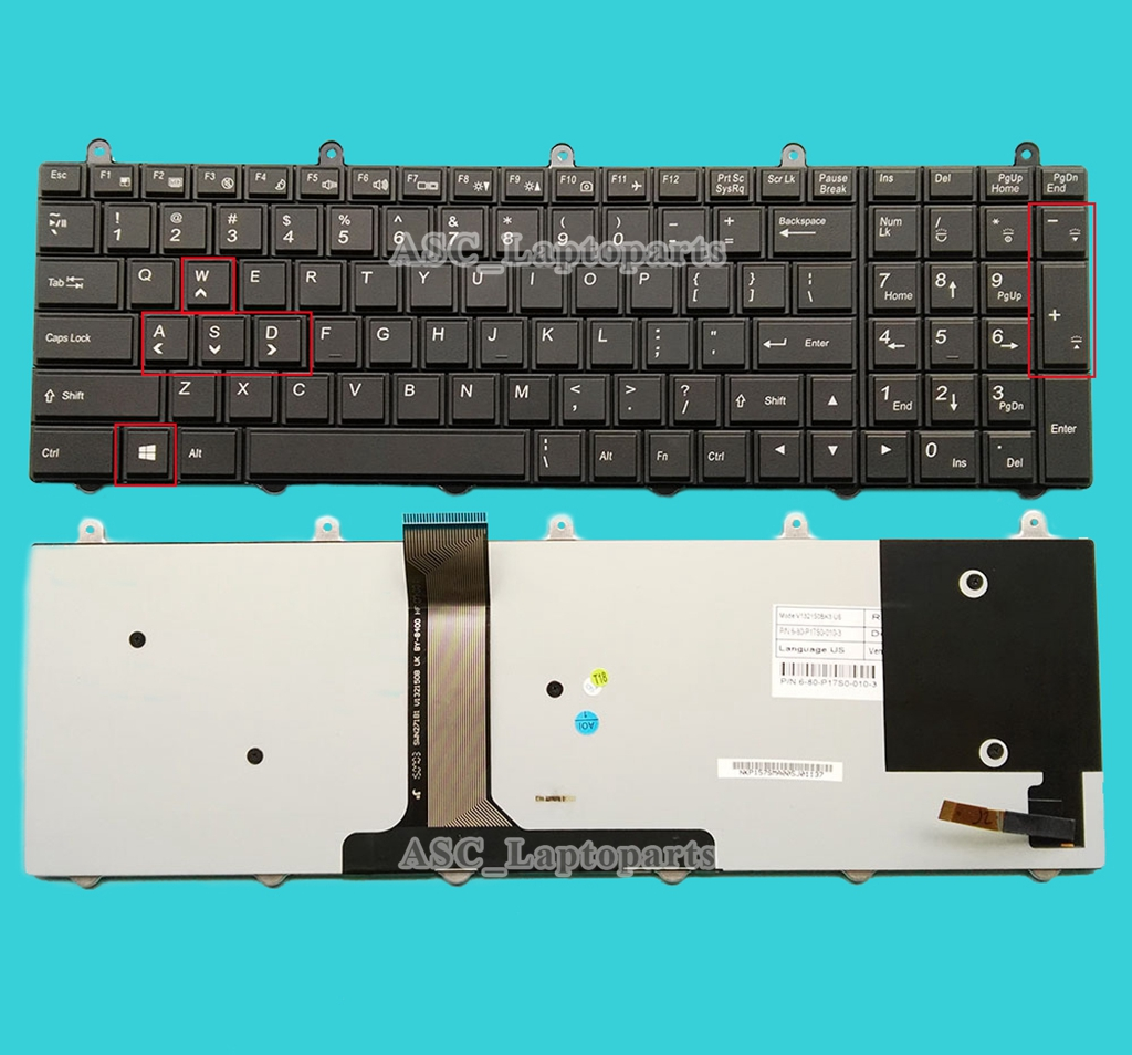 NEW For Clevo P177SM P370SM P375SM Keyboard Backlit US WIN KEY Bottom Left