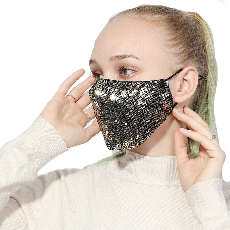 Summer Women Mouth Face Mask Sequin Bilayer Muffle Female Sequins Dustproof Earloop Face Mouth Masks Respirator