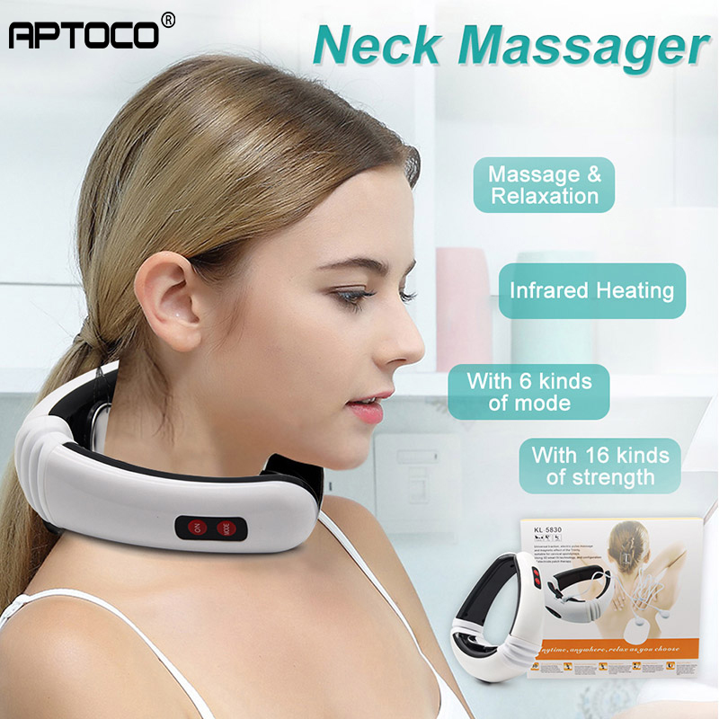 Aptoco Electric Pulse Back and Neck Massager Far Infrared Pain Relief Tool Health Care Relaxation