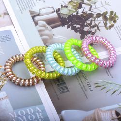 Bracelets chouchous élastiques multicolores pour cheveux, ligne de fil de téléphone, bandeau en forme de spirale, queue de cheval, attaches en caoutchouc pour cheveux