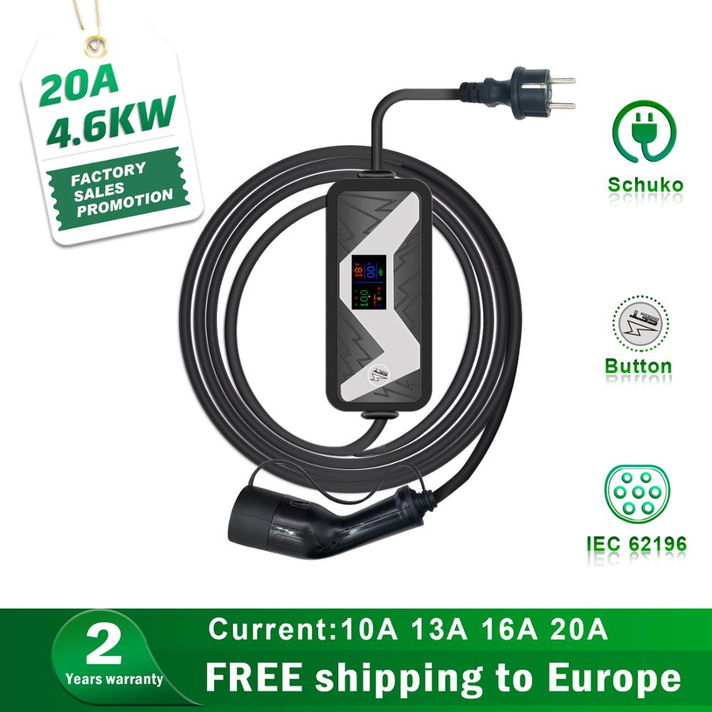 Electric Vehicle charging station EVSE type 2 Car Charger for leaf tesla mode 3  EV Charger Schuko Plug 20A IEC 62196 2