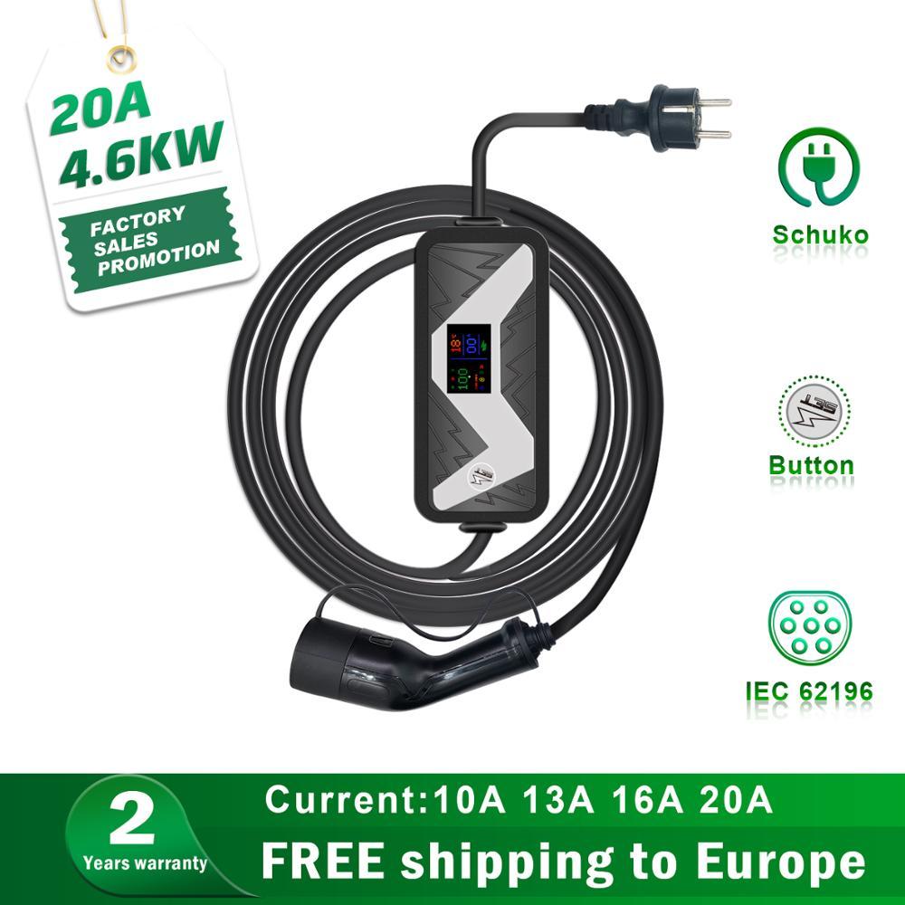 Estación de carga de vehículos eléctricos EVSE Tipo 2 cargador de coche para leaf tesla mode 3 EV cargador Schuko Plug 20A IEC 62196 2