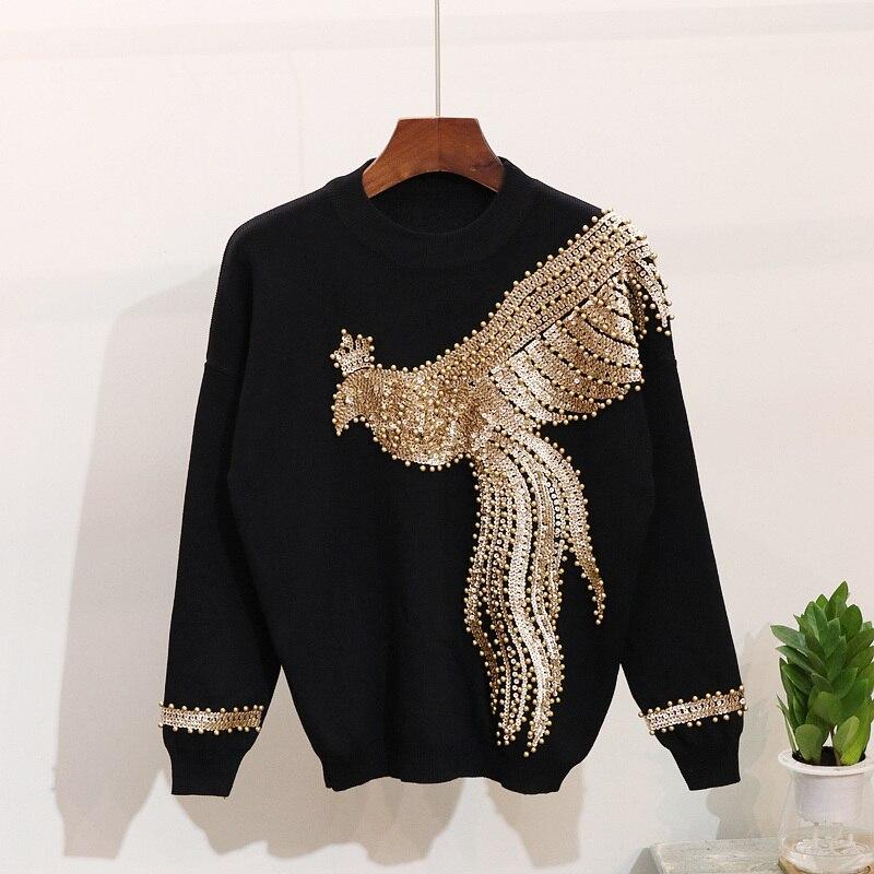2 sztuka zestaw spodni Phoenix perły cekinami Casual sweter z dzianiny Top + ołówek spodnie spodnie garnitur dres sportowy strój E6698 w Zestawy damskie od Odzież damska na  Grupa 2