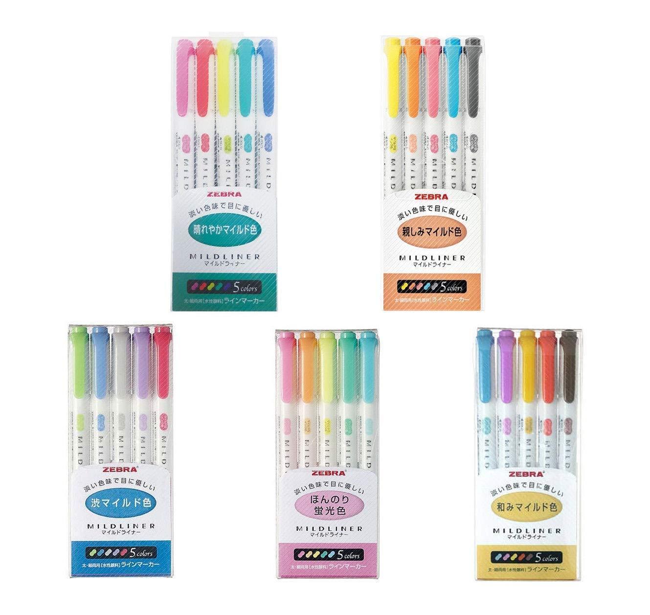 25 Colors Zebra 5 Type Japanese Mildliner Double-Sided Highlighter Pen Set Stationery