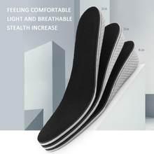 Altura aumento palmilhas calcanhar almofada respirável espuma de memória para homem/mulher elevador invisível palmilhas sapato absorção de choque inserção mais alta