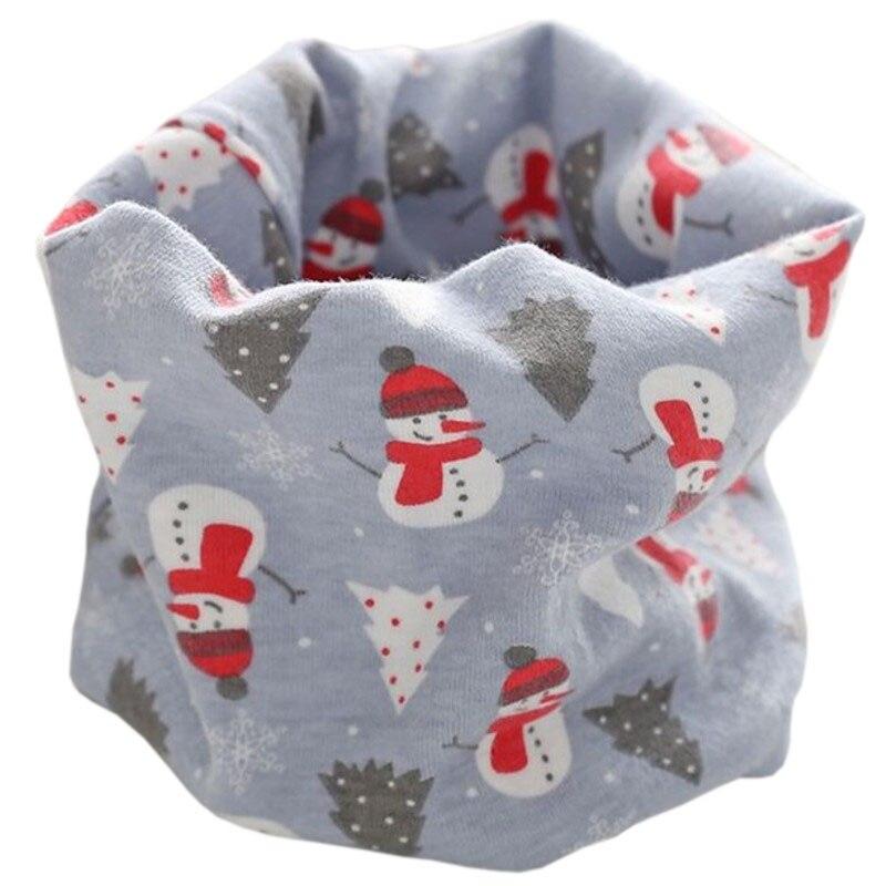 Новинка; Модный хлопковый шарф для маленьких девочек; осенне-зимний шарф для маленьких мальчиков; Детский шарф с круглым вырезом; Детские шарфы; волшебный шейный платок - Цвет: grey snowman