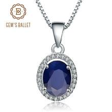 宝石のバレエ 925 スターリングシルバー 2.02Ct ナチュラルブルーサファイア宝石用原石のペンダントネックレス女性のためのファインジュエリードロップ無料