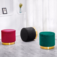 Nordic creative footstool living room sofa footstool modern fabric dressing stool Kids/Children Chair shoes round iron Bench