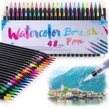 24/48 cores marcadores de escova aquarela canetas conjunto com caneta de água de mistura, desenho pintura caligrafia arte de volta à escola presente a6901