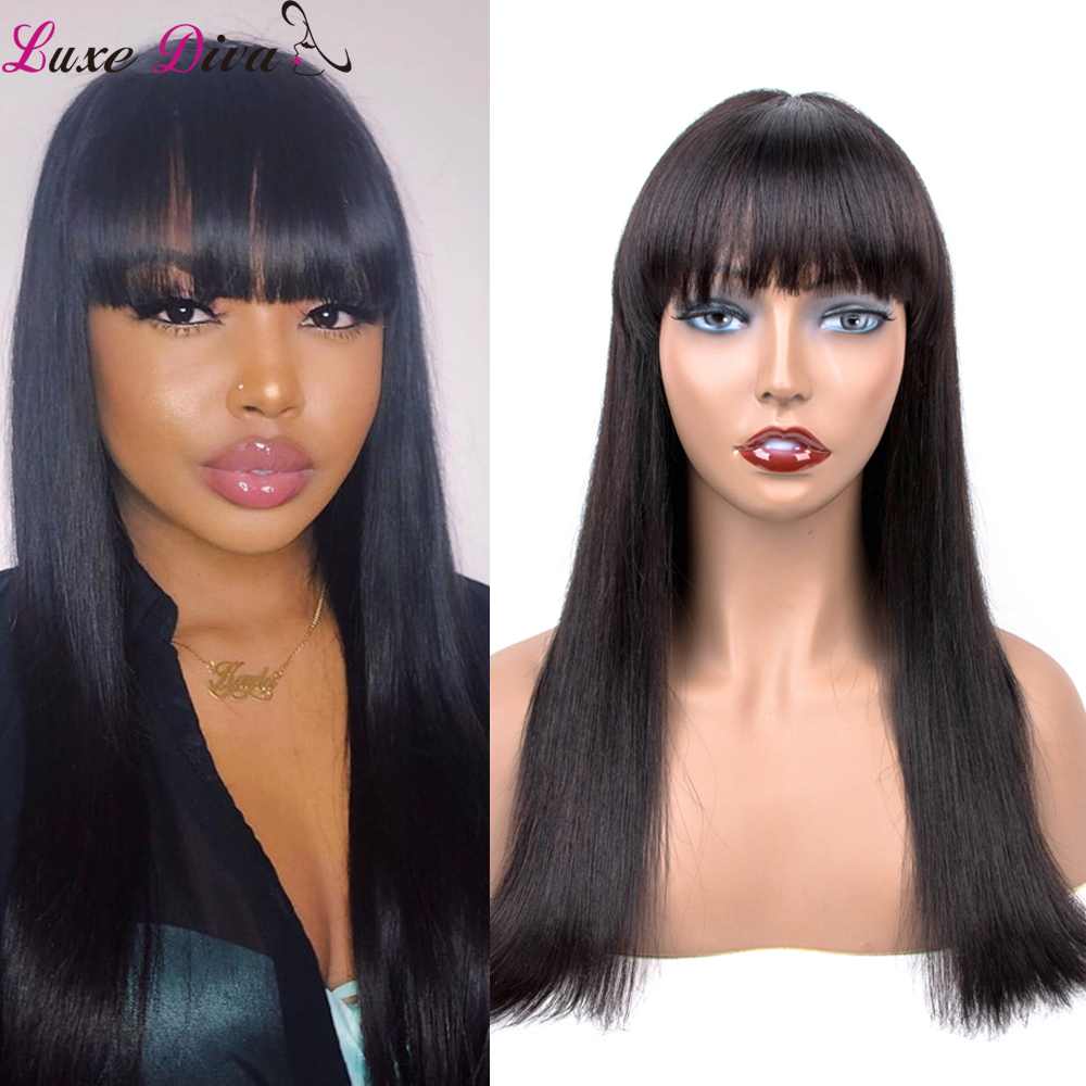 Brazilian Human Hair Wigs With Bangs Remy Hair Wig For Black Women 10-18inch Human Hair Wig With Bangs Free Shipping Luxediva