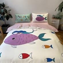 Evich 100% Cotton large print four-piece set summer kit sleeping quilt cover bed sheet bedding duvet