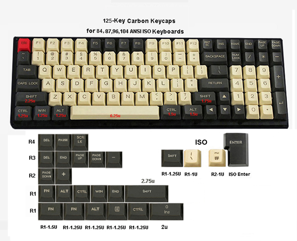 NPKC 125-key ANSI ISO PBT Keycaps OEM Profile Dolch Carbon For Cherry MX Switches 84 87 96 104 Tada68 FC980M Mechanical Keyboard