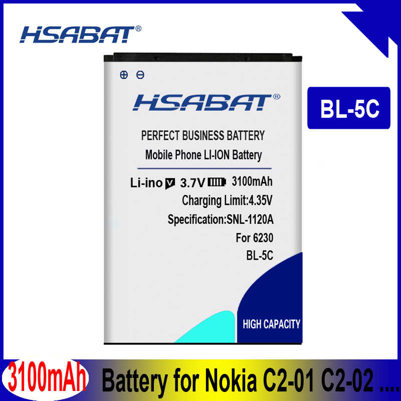 HSABAT 3100mAh BL-5C Battery for Nokia C2-01 C2-02 C2-03 C2-06 X2-01 5130 XpressMusic 6230i 1108 1110 1112 1116 1200 1208 1209