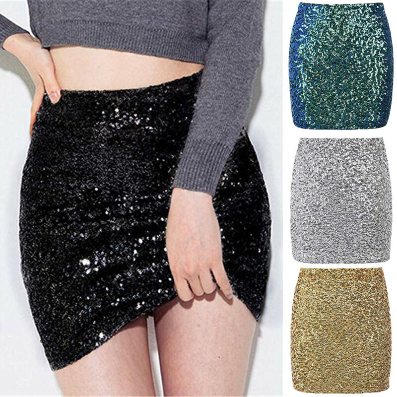 Women High Waist Sequin Glitter Mini Skirt Bodycon Slim Fit Pencil Skirts Ladies Mini Skirt