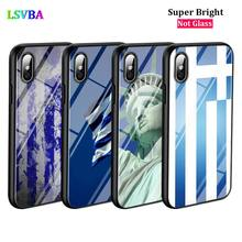 Black Cover Greece national flags for iPhone X XR XS Max for iPhone 8 7 6 6S Plus 5S 5 SE Super Bright Glossy Phone Case black cover japanese samurai for iphone x xr xs max for iphone 8 7 6 6s plus 5s 5 se super bright glossy phone case