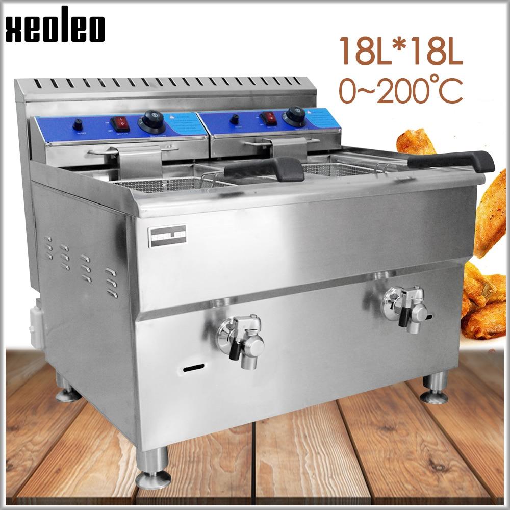 XEOLEO Commercial Fryer Deep fryer Frying mechine LPG Gas Fryer Stainless steel fried chicken machine French fries for KFC 18L*2