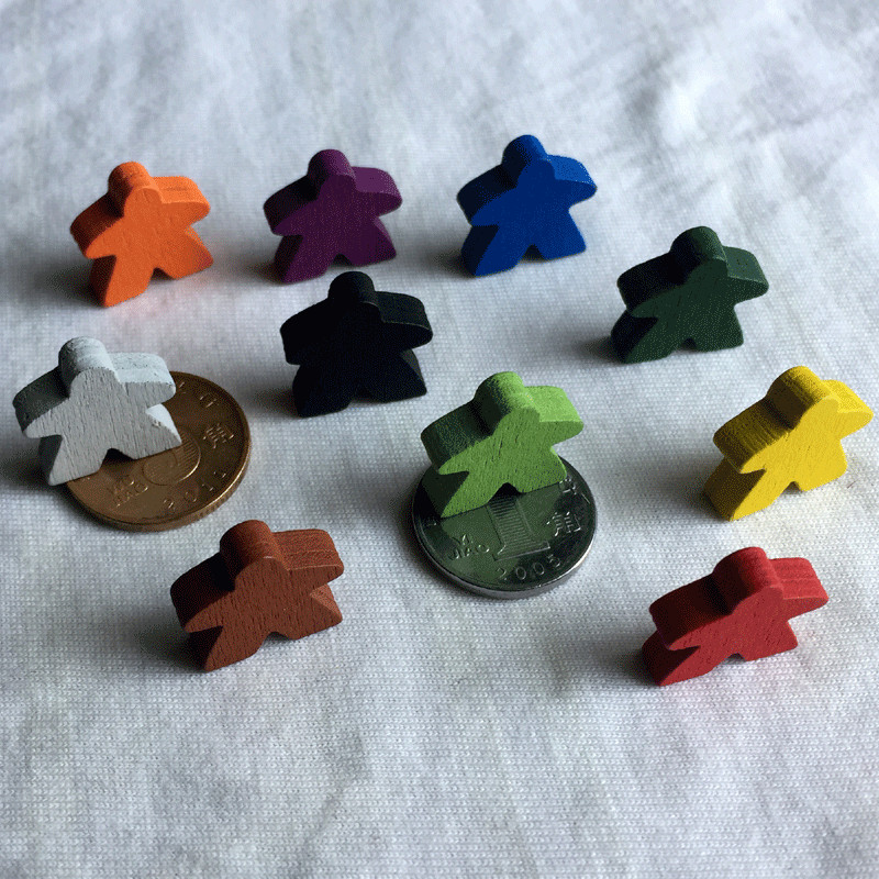 10 Pieces/Lot Humanoid Wooden Pawn/ Chess 16mm Meeple For Carcassonne Board Game Accessories 16mm*6mm 10 Colors