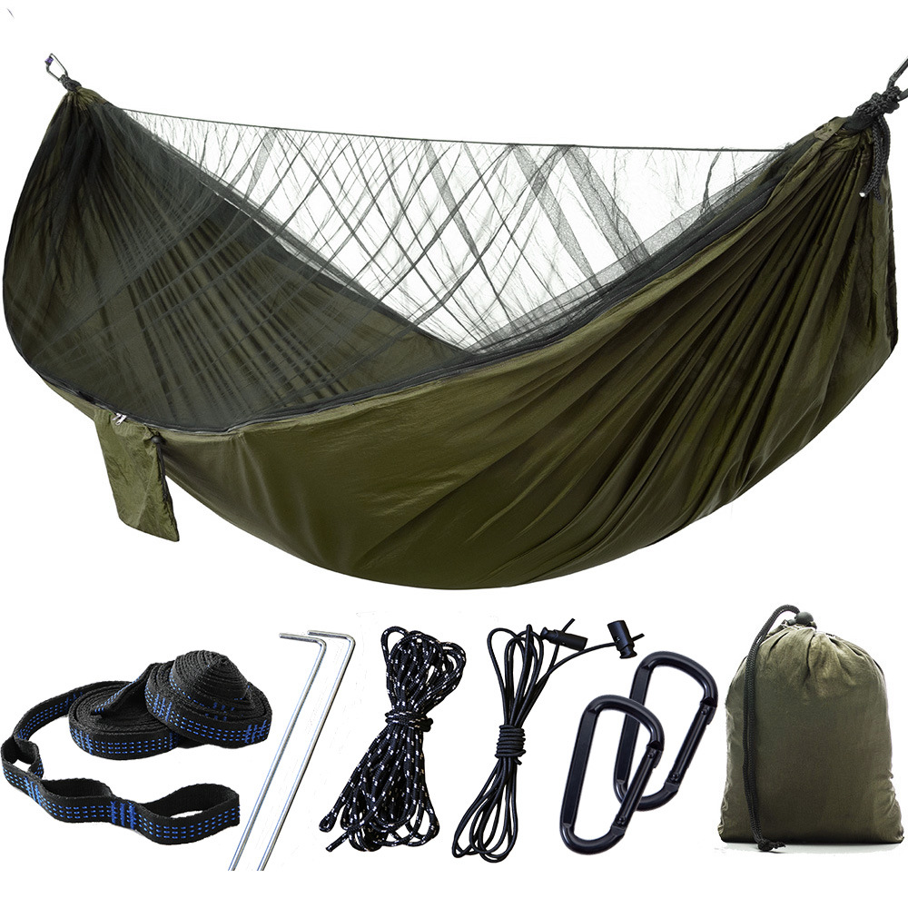 Portable 2 Person Outdoor Camping Hammock With Mosquito Net High Strength Auto Speed Parachute Fabric Hanging Bed Hunting Swing