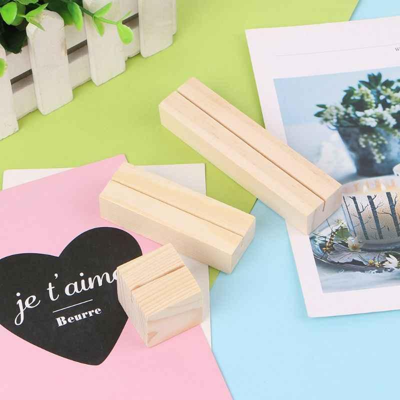 1 pc chanfrado de madeira natural memo clipes foto titular grampos suporte cartão desktop mensagem artesanato
