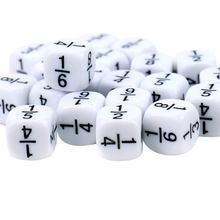 10 pz/set frazione dadi bianco 16*16mm numero frazionario dadi Montessori educativi per bambini giocattoli matematici per giochi per bambini giocattoli