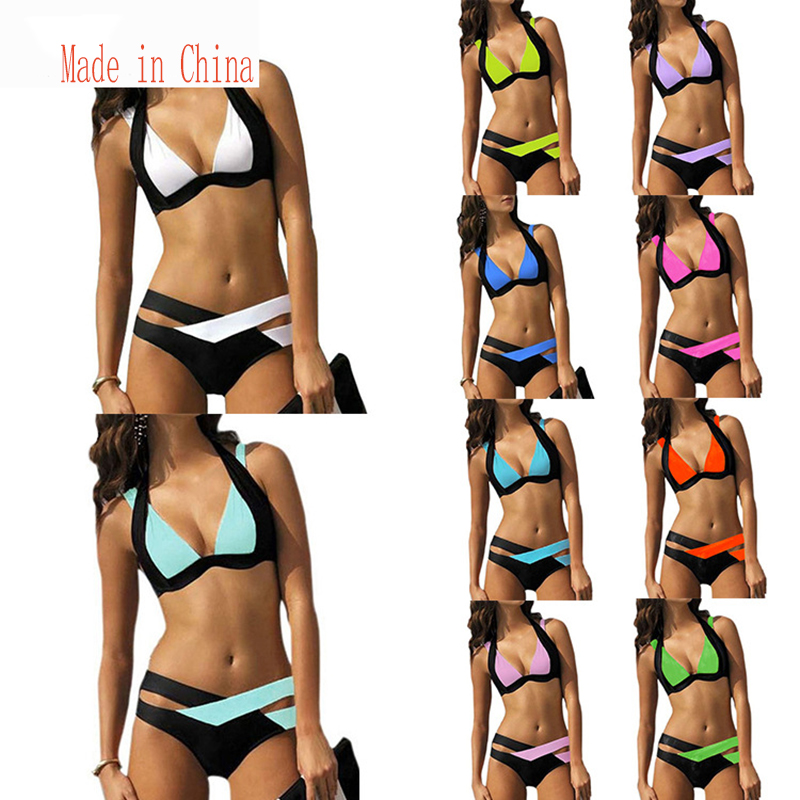 New color matching sexy bikinis Color contrast color ladies split swimsuit swimsuit beachwear cross straps sexy bikini swimsuit