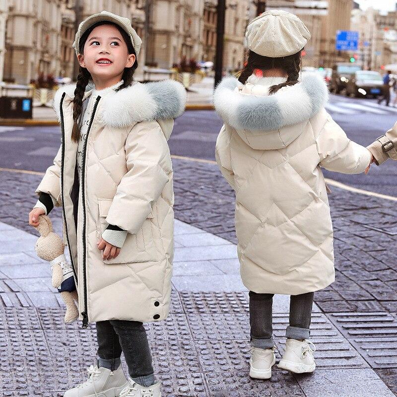 Girls Winter Down Parkas Teenage Kids Jackets Faux Fur Coats Hoodie Thicken Warm Students Children Snowsuit Outerwear 6 8 10 14T