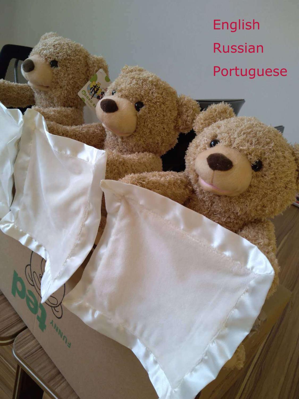 30cm Peek A Boo Elephant & Teddy Bear Stuffed Animals Plush Doll Play Music Elephant Educational Toy Gift For Kids Children