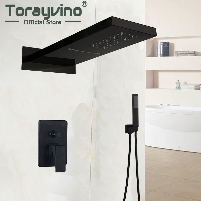 wall-mounted Bathroom Shower Set Black Matte Rubinetto Doccia Water Saving Led Top Shower With Control Valve Mixer Faucets Set