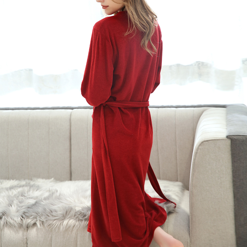 2019 Women 39 s Terry Clothe Robe Turkish Cotton Terry Kimono Collar Casual Autumn Winter Homme Sleepwear Solid Full Sleeve Outwear in Robe amp Gown Sets from Underwear amp Sleepwears