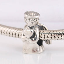 Autentyczne S925 skrzydła anioła miłości serce koralik urok pasuje bransoletka damska bransoletka biżuteria zrób to sam