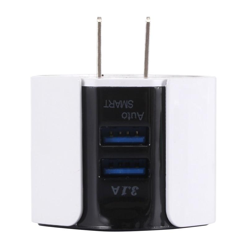 Tüketici Elektroniği'ten Şarj Cihazları'de FFYY 3.1a çift Usb mavi LED ışık telefon şarj adaptörü duvar cep telefonu şarj cihazı seyahat adaptörü Iphone Samsung için abd Plug title=
